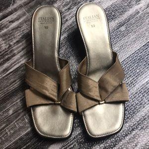 Beautiful gold sandal small wedge shoe